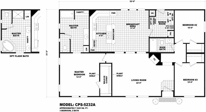 Homes Direct Modular Homes - Model CPS5232A - Floorplan