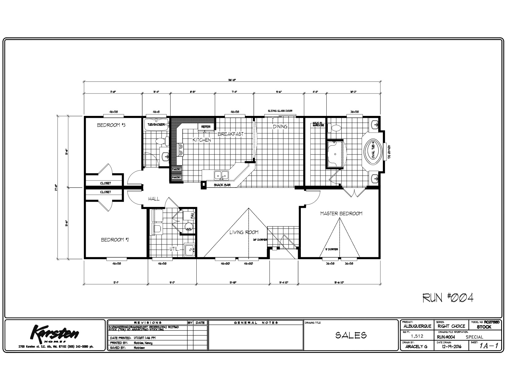 Homes Direct Modular Homes - Model RC2756D - Floorplan
